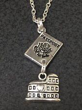 "Passport & Roman Coliseum Charm Tibetan Silver with 18"" Necklace BIN"