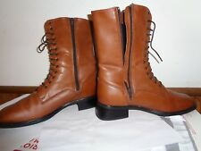 Santana Canada Tan Brown Leather Lace Up Granny Ankle Boots Combat Size 8 1/2M