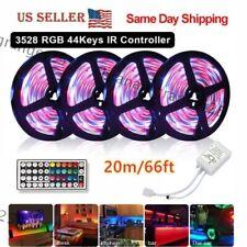 66 Feet RGB Waterproof LED Strip Light SMD 44 Key Remote 12V DC Power Kit 3528