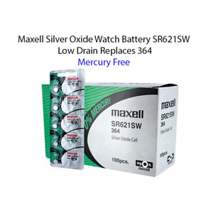 50 x Maxell SR621SW 364 23mAh 1.55V Silver Oxide Button Cell Battery