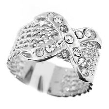 Ladies X Shape Crystal Silver Rhodium Plated Ring Size 8