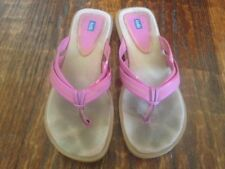 Keds * HOT PINK Leather YELLOW Stitching FABRIC Insole FLIP FLOP Sandals * sz 8M