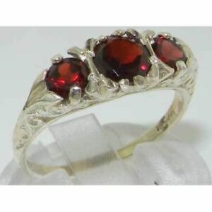 VINTAGE style Solid 10ct White Gold Natural Garnet Trilogy Ring