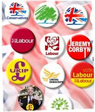 "LARGE UK PARTY POLITICAL GENERAL ELECTION BADGES, TORY, LABOUR, UKIP 2""/55mm dia"