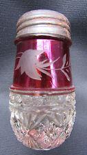 1887 Ruby Stained EAPG Pattern Glass Melrose Diamond Beaded Band Salt Shaker