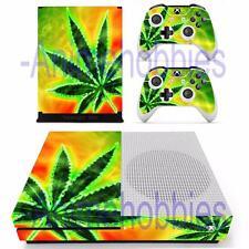 Xbox One S Slim Console Skin Rasta Neon Weeds Vinyl Decals Stickers Controllers