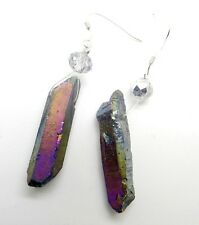 925 sterling silver Titanium Crystal Agate Druzy Quartz Geode stone earring A6