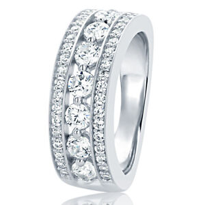 Women 7MM Sterling Silver Wedding Ring Round CZ Seven Stone Anniversary Band