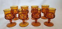 VINTAGE INDIANA GLASS AMBER SET OF 8 GOBLET GLASSES KINGS CROWN PATTERN