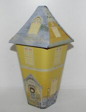 Thomas Kinkade Village Holiday Yellow Cottage House Tin Box Container Canister