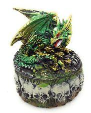 Green Dragon Trinket Box Figurine Skull Bones Decor GSC 71477 C