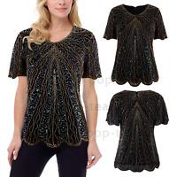 Chiffon Sequins Womens 1920s Beaded Evening Tops T Shirt Casual Blouse Petal Hem