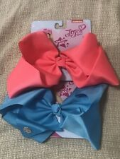 AUTHENTIC NICKELODEON JOJO SIWA BIG SIGNATURE HAIR BOW GIRL PINK BLUE SET OF TWO