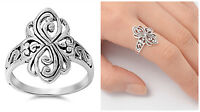 Sterling Silver 925 PRETTY SCROLL WITH HEART DESIGN SILVER RING 16MM SIZES 4-13