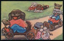 art Margret Boriss soapbox car Gravity racer dressed dog original 1920s postcard