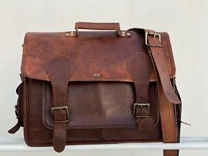 "18"" Men's Leather Multipurpose Laptop Handmade Briefcase Bag Satchel Messenger"