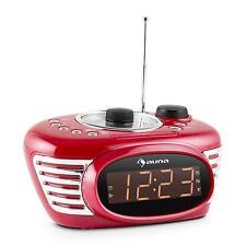 AUNA RETRO UHREN RADIO WECKER DUAL ALARM SLEEP TIMER UKW PLL AUX LED DISPLAY ROT