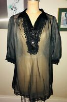 VTG 50'S-60'S SEARS* LOVELY!!BLACK SHEER BABYDOLL LINGERIE NEGLIGEE  MINI ROBE*S