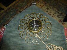 Vintage GE TELECHRON MCM Hollywood Regency WALL CLOCK W/ Metal Filigree Works !