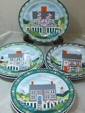 "Sakura Nantucket Shoreline Set 7 Salad Dessert Plate Plates 8.25"" Claire Murray"