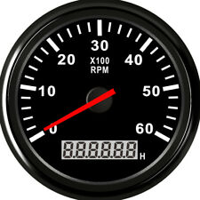 0-6000 RPM 85mm Car Marine Tachometer Boat Gauge Digital Hourmeter Waterproof