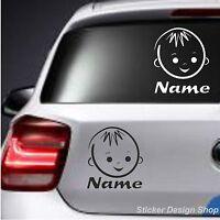 Baby Kinder Motive mit Wunschname Autoaufkleber Sticker Auto Namen Aufkleber M1