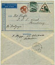 NETHERLANDS AIRMAIL ENVELOPE to DUTCH EAST INDIES...RED CANCEL on AIR STAMP 1933