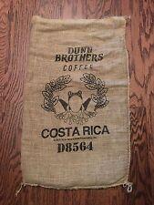 Burlap DUNN BROS Coffee Bean Bag Gunny Sacks Costa Rica Frog