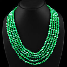 541.40 CTS EARTH MINED 5 LINE ROUND RICH GREEN EMERALD BEADS NECKLACE - ON SALE