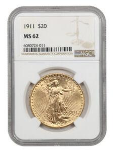 1911 $20 NGC MS62 - Better P-Mint - Saint Gaudens Double Eagle - Gold Coin