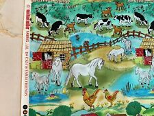 Michael Miller out of print Farm Friends cotton fabric BTY Cow Barn Horse KIds