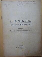 1923-L'AGAPE-PLINIO CARLI autografo-PISA-PASCOLI-LUCIANO VISCHI