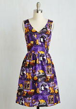 Modcloth Spirit in the Fright Dress L Large Halloween Punmpkins Cats Kittens