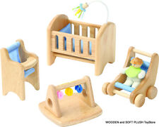 *NEW pretend play toy WOODEN DOLLS HOUSE MUM, DAD 2 CHILDREN flexible, poseable
