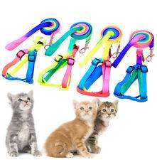 Adjustable Pet Dog Puppy Rainbow Colorful Harness Lead Leash Cat Kitten C lops