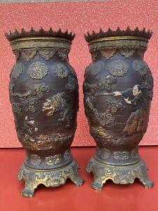 Paire vases porte lampe à pétrole terre cuite Peinte XIXe Poterie Japon Bronze