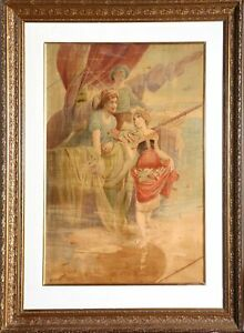 Alphonse Mucha, Peche, Chromolithograph on Canvas, signed in the plate