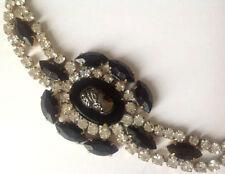 bracelet ancien couleur or tout de cristaux diamant camée de verre noir 4713