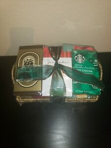 NEW/Sealed Festive Favorites Meat & Cheese Gift Gold Basket Starbucks Food Box