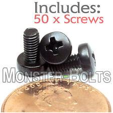 M3 x 6mm - Qty 50 - Phillips Pan Head Machine Screws - DIN 7985 A - Black Steel