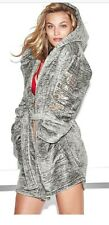Victorias Secret PINK Plush Robe XS/S Marl Grey Gold Bling SOLD OUT NEW