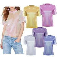 Women Sparkly Sequined Summer Short Sleeve Top Tee Shirt Blouse Clubwear T-shirt