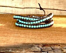 Turquoise & Leather Coil Wrap Bracelet