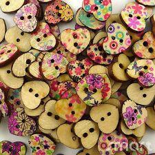 100/200/500pcs Mixed Hearts Flower Wood Button Lot 15x11mm Craft Embellish