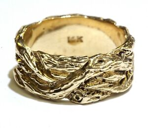 14k yellow gold womens fancy band ring 10.5g rare estate vintage