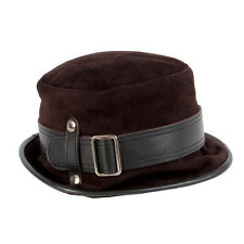 39376 auth TOD'S dark brown suede & leather Hat M
