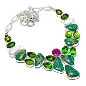 """Copper Malachite & Peridot 925 Sterling Silver Jewelry Necklace 17.99"""" T8626"""