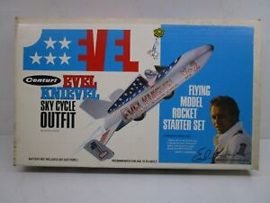 1975 EVEL KNIEVEL SKY CYCLE OUTFIT MODEL ROCKET Battery Operated Toy & Box NOS