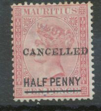 """MAURITIUS 1877 QV Half Penny on Ten Pence VARIETY: """"CANCELLED"""" DOUBLE OVERPRINT"""
