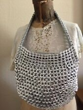 NEW UNIQUE  METALLIC SILVER ALUMINUM CAN TABS SHOULDER BAG - retails - $125+